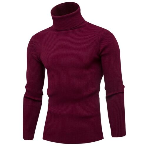 Details about Winter Men's Long sleeve Turtleneck sweater Knitting Jumper Plain Pullover New B