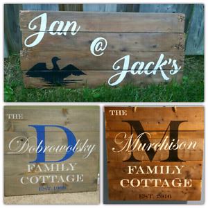 Rustic cottage wooden signs custom made