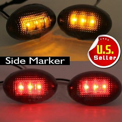 4x LED Fender Bed Side Marker Lights Lens Amber Red of Ford F350 F450 EFF GOOD