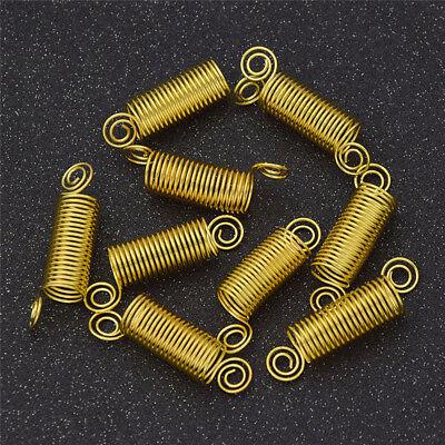 10Pcs Dreadlock Cuffs Clips Spiral Golden Beads Hair Braid Decoration for Women