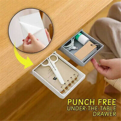Punch Free Under The Table Drawer Invisiable Storage Box Self Stick Organizers