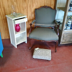 French Provincial Arm Chair, Foot Stool and Side Table/Shelf