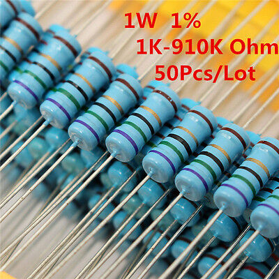 50pcs 1w 1 Watt Metal Film Resistor 1 1k -910k Ohm 1 K - 910 K Free Shipping
