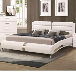 Nouveau Lit Queen Bed , White and Stainless Steel Accents