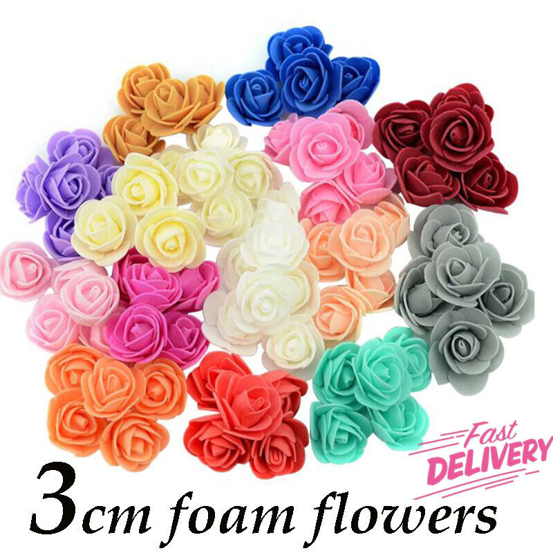 Home Decoration - 50 X Foam Mini Small Flowers Head Roses Wedding Home Party Decor DECORATION