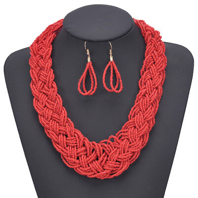 Bohemian Hand-knitted Beads Multi-layer Statement Necklace Earring Jewelry Set