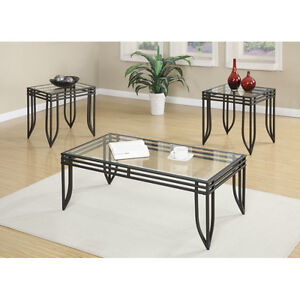 Coffee table set glass top with metal frame  w.2 end tables
