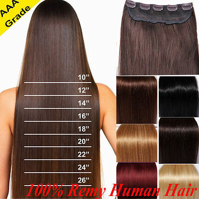 One Piece 100% Real Clip in Remy Human Hair Extensions Full Head Highlight US