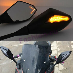LED Rear View Mirrors For Kawasaki Ninja 500R 650R ZX6RR ZX7R ZX9R ZX12R ZX14R
