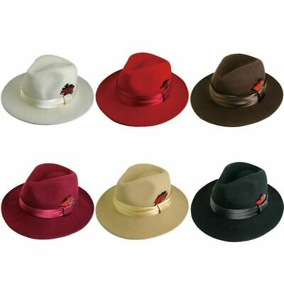 New Men 's 100% Wool Fedora Trilby Hat Style Burgundy Black Brown Khaki Red  - Fedora Style Hats