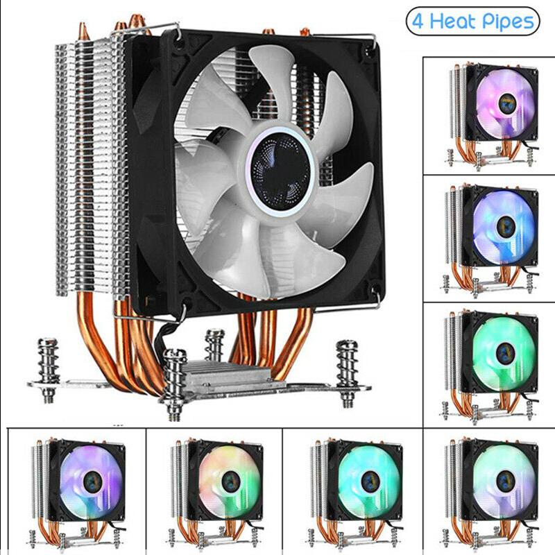 Heatsink CPU Cooler W/ LED RGB Cooling Fan 4 Heatpipe 3 Pin