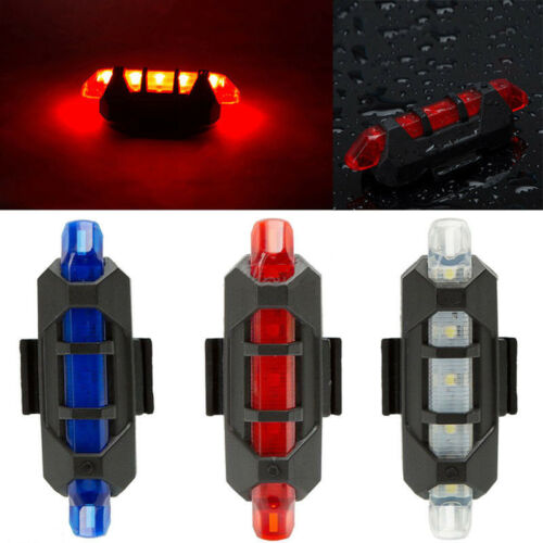 3Color 5LED Bicycle Cycling Tail USB Rechargeable Warning Light Bike Rear Safety