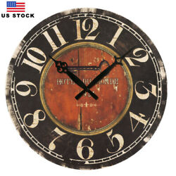 15 in Large Wooden Wall Clocks Decor Retro Clock Antique Clock Room Home Black