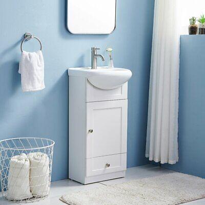 Modern White Bathroom Vanity with Ceramic Sink Single Bathroom Vanity Cabinet