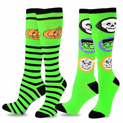 TeeHee Novelty Halloween Fun Knee High  for Women 2pk (Pumpkin Trick or Treat)
