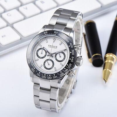 39mm Parnis Sapphire Men Chronograph Quartz Watch Sport Wristwatch 24-hours (Chronograph Sapphire Wrist Watch)