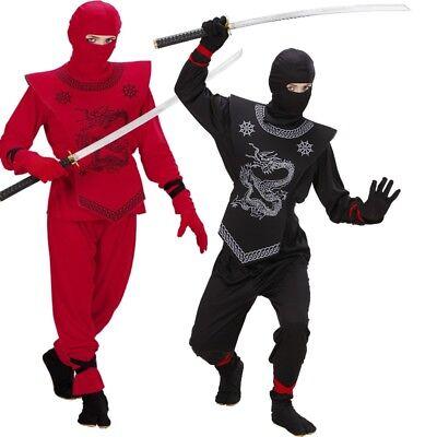 Elegantes Ninja Kostüm Kinder - Ninjago Kämpfer Samurai in schwarz oder rot ()