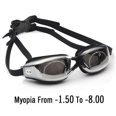 Optical -1.5 to -8.00 Myopia Swimming Goggles Anti-Fog UV Waterproof glasses