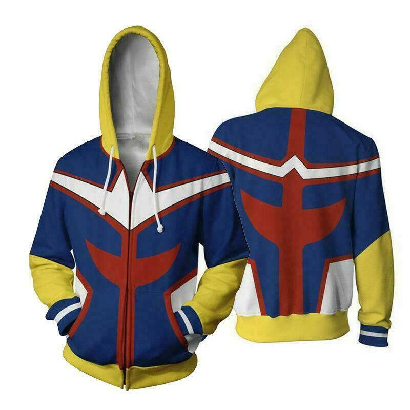 My Hero Academia All Might Toshinori Yagi Cosplay Costume Jacket Hoodie Coat Activewear