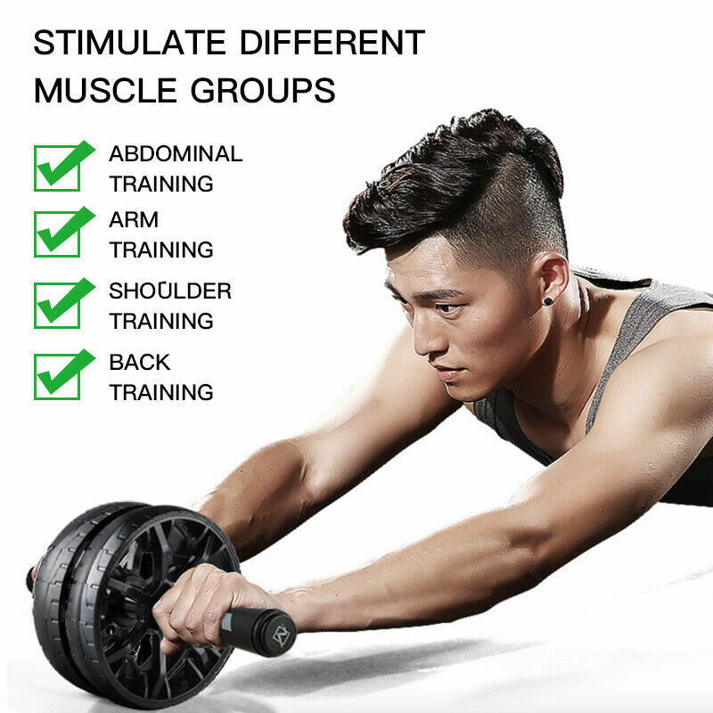 Ab Roller Dual Wheel Abdominal Stomach Exercise Fitness Gym Equipment + Knee Pad Abdominal Exercisers