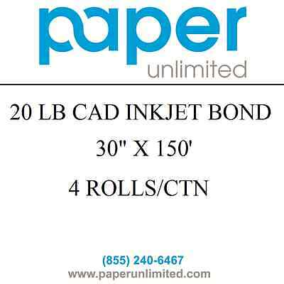 "4 Rolls 30""x150' 20lb Bond CAD Plotter Paper Inkjet 2"" Core 92 Bright White"