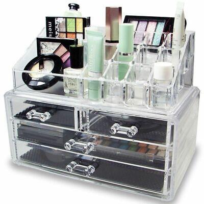 Acrylic 4 Drawer Makeup Case Cosmetic Brush Organizer Jewelry Holder Storage Box