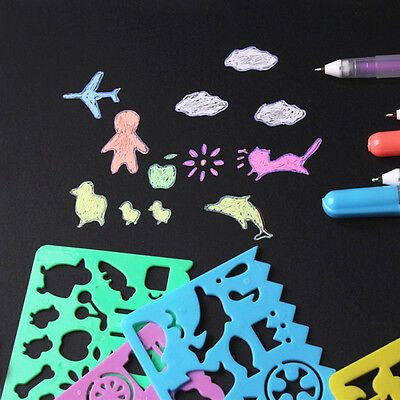 Kids DIY Plastic Picture Drawing Template Stencils Rulers Painting Easter Gift