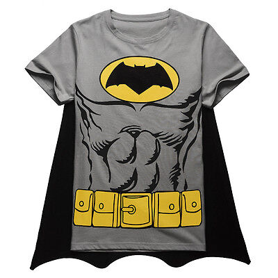 Halloween Batman Cosplay Mens Cotton T-Shirts Short Sleeves Party Funny Costume