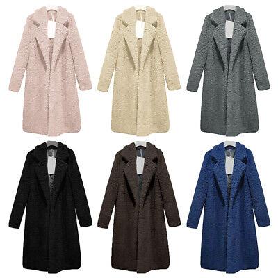 US Women Teddy Bear Long Knee Coat Ladies Vintage Faux Fur Fluffy Jacket Outwear Fur Coat Teddy Bears