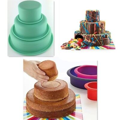 "3"" 6"" 8"" 3 Layers Round Cake Pan Set Silicone Baking Mold for Wedding Party"