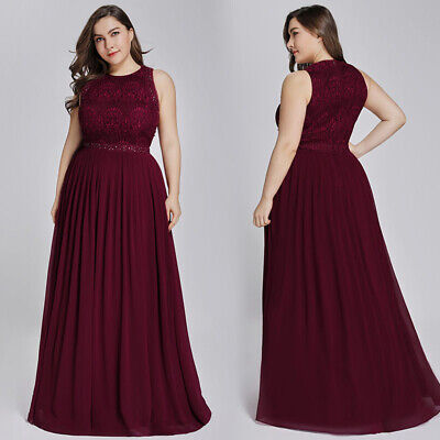 Ever-Pretty Plus Size Lace Burgundy Bridesmaid Prom Gown Formal Evening Dresses Burgundy Bridesmaids Prom Gown