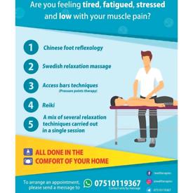 relaxing massage, foot reflexology