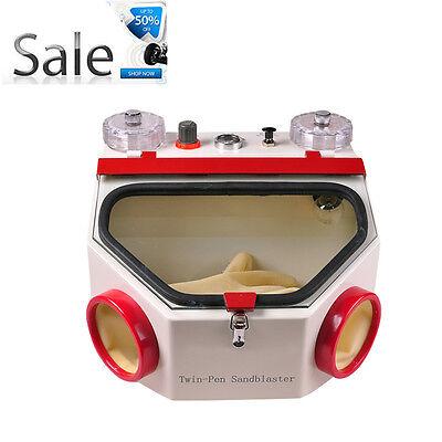Warranty Dental Lab Equipment Twin Double Pen Fine Sandblaster Machine Unit Fda
