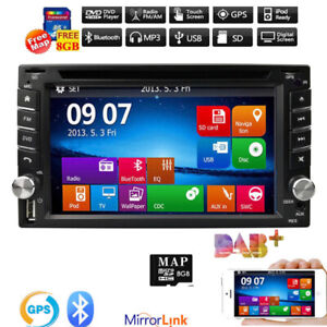 GPS Navigation HD Double DIN Car Stereo DVD Player Bluetooth