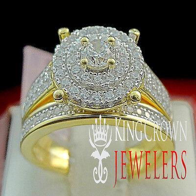 - Ladies Wedding Ring Bridal Set 2pc Sterling Silver Lab Diamond 14k Gold Finish