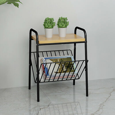 Vintage retro wood metal side table magazine rack holder living room storage (Side Table Rack)