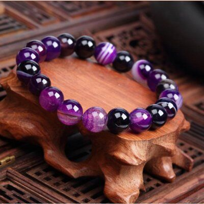 Fashion Natural Stone Love Purple Agate Bead Bracelet Vintage Charm Jewelry Gift Agate Bead Bracelet Bangle