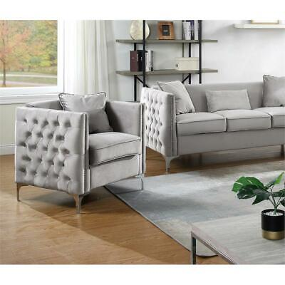Bayberry Gray Velvet Fabric Accent Arm Chair with Pillow