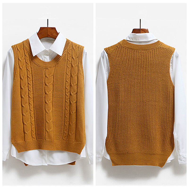 Details about Women Knit Vest Jumper Pullover Student Sleeveless Sweater Tops Knitwear Casual