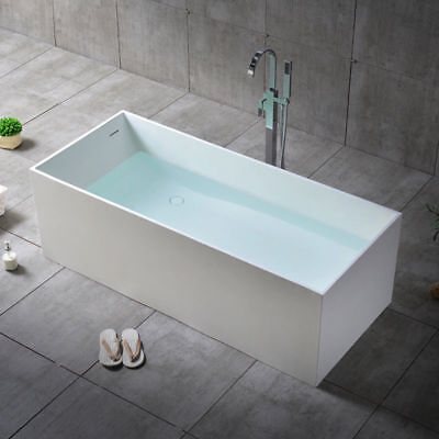 Matte White Rectangle Freestanding Soaking Bathtub with Linear Overflow & Drain - Matte White Drain