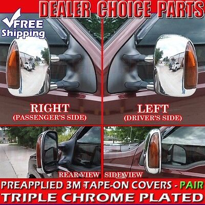 - 2000-2005 Ford Excursion Triple Chrome Mirror Covers Trim Towing W/TRN SGL Hole