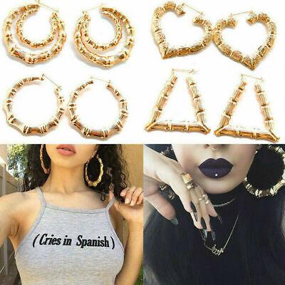 UK Large Bamboo Earrings Hip-Hop Gold /Silver Ladies Hoop / Bling Circle Big