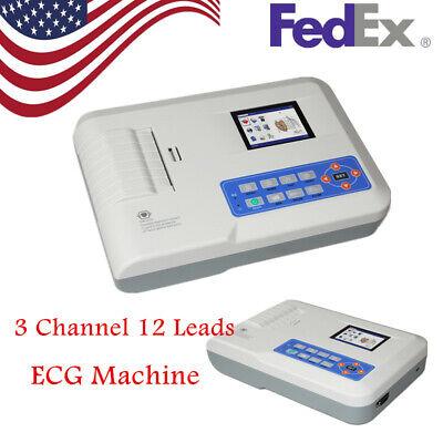 Usa Fda Portable 3 Channel Ecg Ekg Machine Electrocardiograph Printersoftware