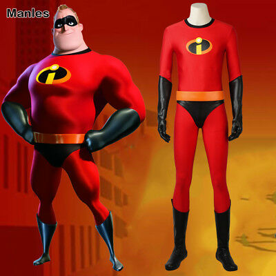 The Incredible Costume (The Incredibles 2 Bob Parr Mr Incredible Costume Cosplay Halloween Fancy)