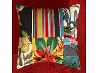 Cushion covers made with upcycled materials remnants fabric samples vintage clothes curtains etc