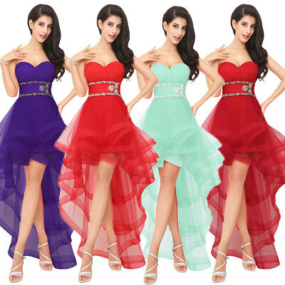 US High Low Beaded Prom Party Cocktail Dress Sweetheart Homecoming Ruffled Dress Beading Organza Homecoming Dress