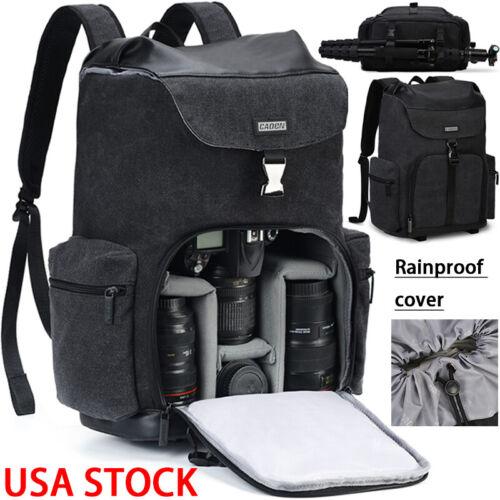 large black canvas camera bag backpack