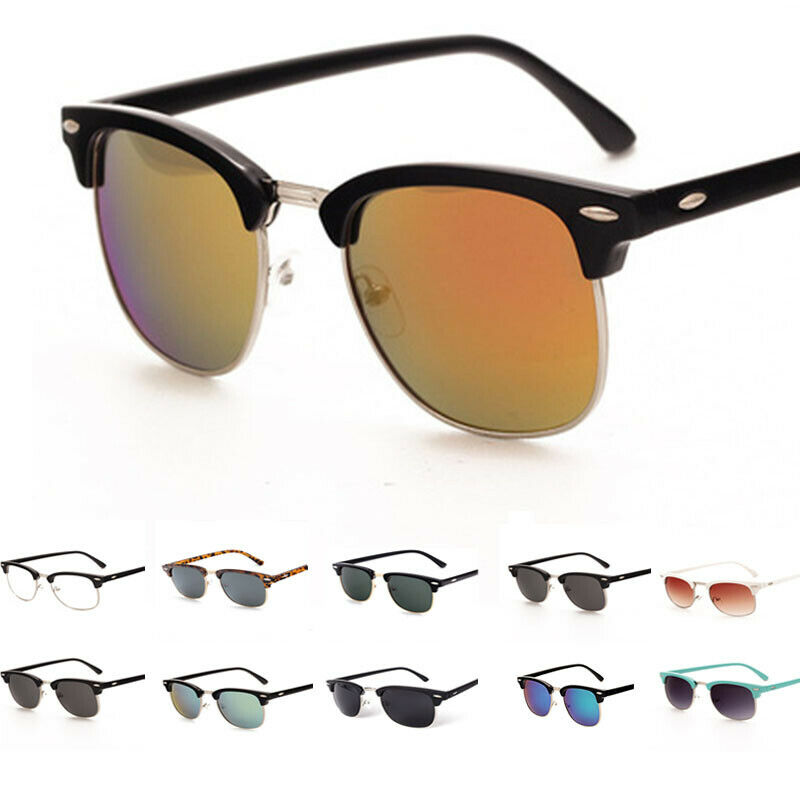 Vintage Sonnenbrille Hälfte Rahmen Brillen Retro 100% UV 400 für Herren & Damen