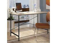 Beech Effect & Black Frame Home Desk by Zipcode Design. New, Still in box.