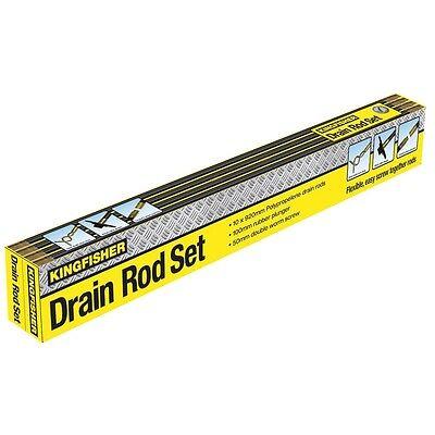BOXED 12 Piece Drain Rod Set Unblock Drain Plunger Unblocker 10 Rods Worm Screw